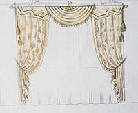 эскиз оформления окна в гостиную (тюль, шторы, ламбрекен, кисти - подхваты)