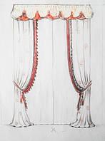 эскиз оформления окна в спальню (тюль, шторы, декоративные шторы с бахромой, ламбрекен, подхваты)