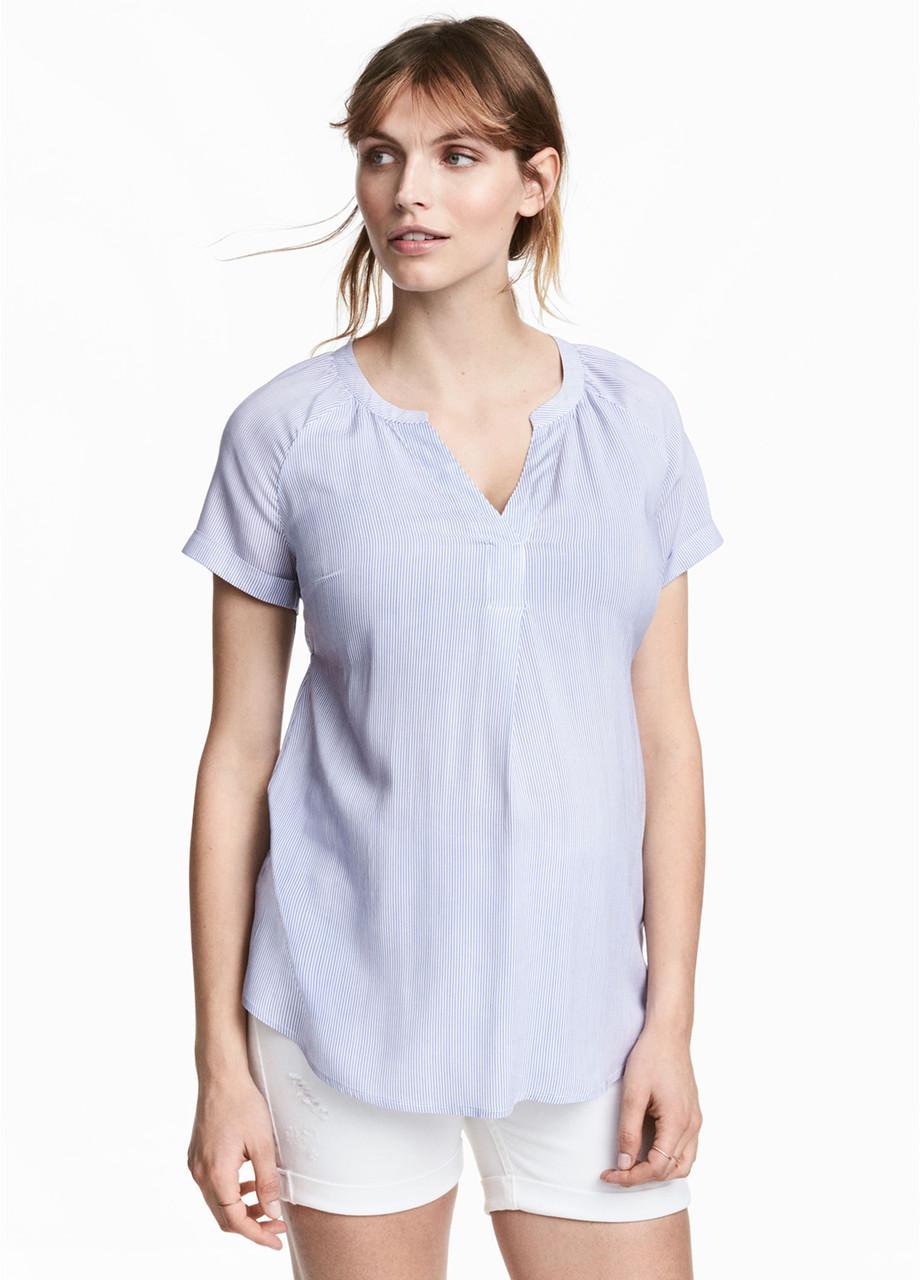 Блакитна в смужку блуза H&M річна, S