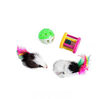 Lucky Fox (Лаки Фокс) Игрушка для кошек набор мышки, шар-погремушки, барабан