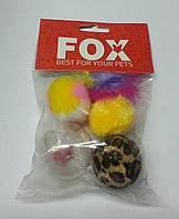 Lucky Fox (Лаки Фокс) Игрушка для кошек набор три меховых шара, моток