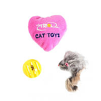 Lucky Fox (Лаки Фокс) Игрушка для кошек набор мышь, шар, сердечко
