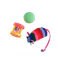 Lucky Fox (Лаки Фокс) Игрушка для кошек набор цветная мышь,шар с пером, барабанчик