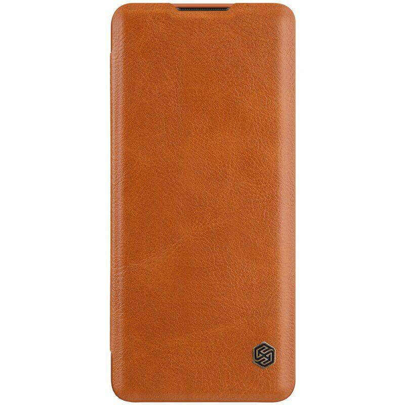 Nillkin Oneplus 8 Qin leather Brown case Кожаный Чехол Книжка