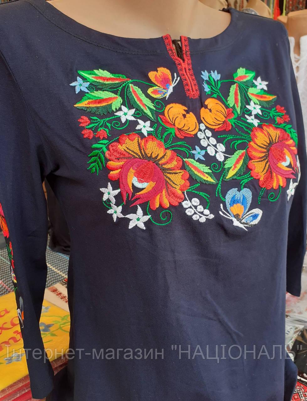 Жіноча вишита футболка на 3/4 рукав