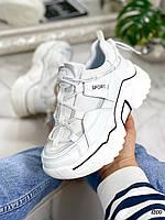 Стильные женские кроссовки белые эко-кожа и текстиль на платформе