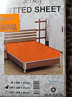 Трикотажная простынь на резинке Хлопок Турция 100*200 односпальная в роддом оранжевый