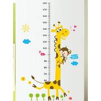 Интерьерная виниловая наклейка на стену в детскую комнату ростомер Жираф (ay7178)