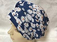 Летняя бандана-шапка-косынка-чалма-тюрбан цвет синий в белых ромашках