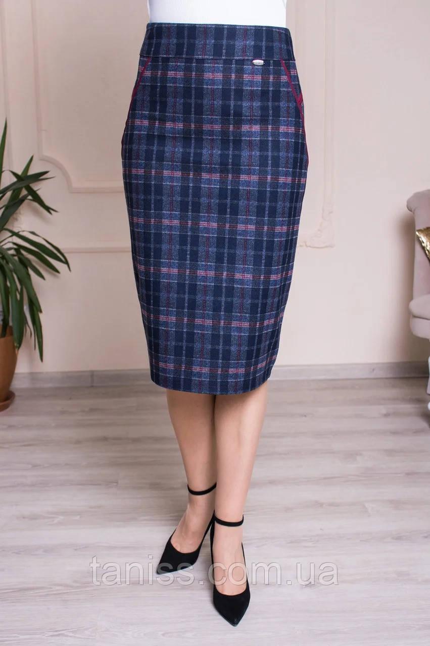 """Жіноча, офісна, тепла спідниця """" Фібі 2 """",тканина теплий трикотаж, р-р 48,50,52,54,56,58 ,синій з бордо, спідниця"""