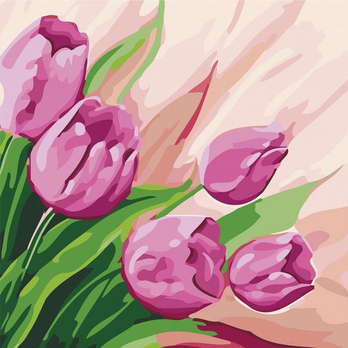 Картина по номерам Персидские тюльпаны 2 ТМ Идейка 30 х 30 см КНО2948