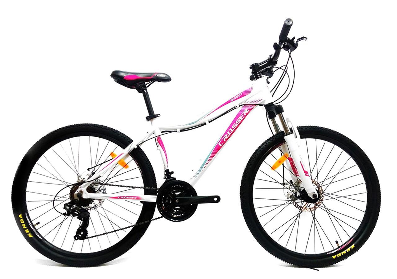 """Подростковый горный велосипед CROSSER SWEET  24"""" алюминиевый, Белый/розовый"""