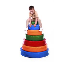 Детский модульный набор Пирамида. Состоит из 5 фигурных колец, 1 цилиндра.