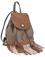 Женская сумка-рюкзак  YES, коричневый с бахромой, 25*21.5*21