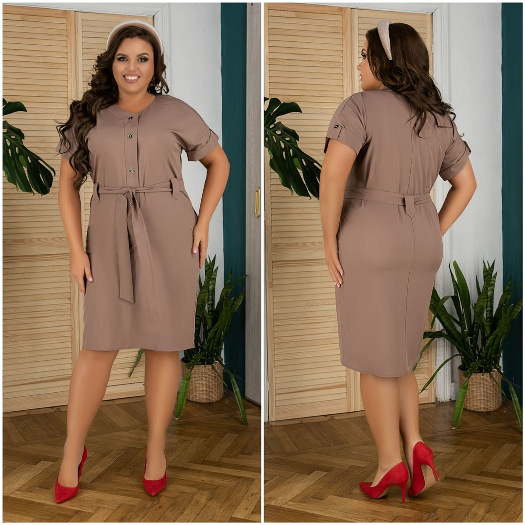 Женское платье под пояс с карманами 50, 52, 54