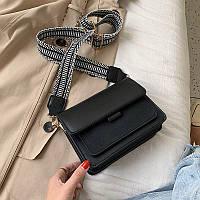 Сумка женская стильная с текстильным ремешком (черная)