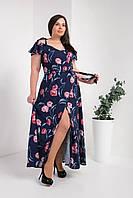 Модное платье в пол в цветочный принт размер 50,52,54 розочки на синем фоне, фото 1