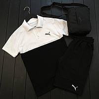 Спортивный костюм мужской Puma white летний   Комплект мужской Футболка + шорты мужские ТОП качества