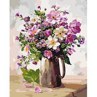 Цветы - Садовий букет. Картина по номерам на холсте - 40х50. С подрамником. Идейка