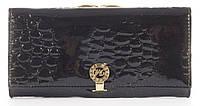 Лаковый элитный кожаный качественный стильный женский кошелек MARIO VERONNI art. MV-2308A черный, фото 1