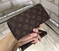 Кошелек на молнии клатч барсетка эко кожа брендовый коричневый 19 х 10 см Копия 266, фото 1