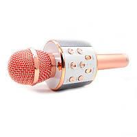 🔝 Микрофон для караоке, WSTER WS858, блютуз микрофон для пения, детский микрофон с динамиком, Розовый   🎁%🚚