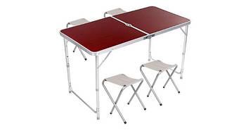 Стол для пикника раскладной с 4 стульями, телескопический 120*60 см
