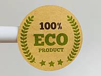 Крафтовая наклейка с надписью эко продукт eco product 100%