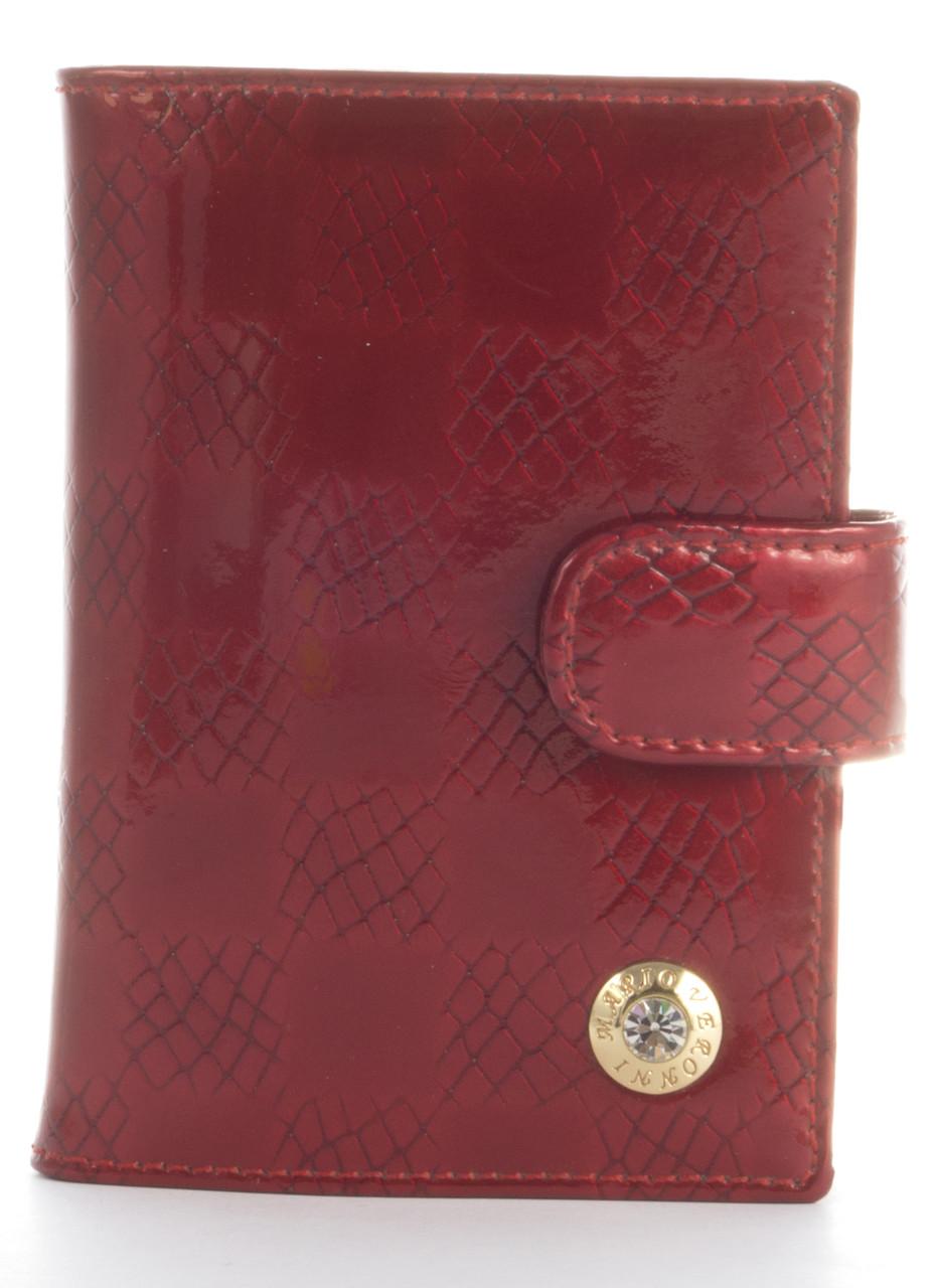 Кожаная лаковая стильная прочная визитница MARIO VERONNI art. MV-5186A красный