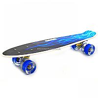 Пенни борд (скейт) с бесшумными светящимися колесами, ручка (голубой огонь) 70822