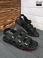 Кожаные сандалии на липучках Код С-11