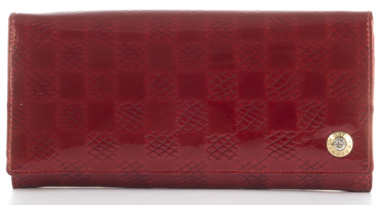 Лаковий елітний шкіряний якісний стильний жіночий гаманець MARIO VERONNI art. MV-5181A червоний