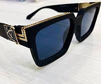Женские солнцезащитные очки Louis Vuitton реплика черные с синей линзой, фото 1