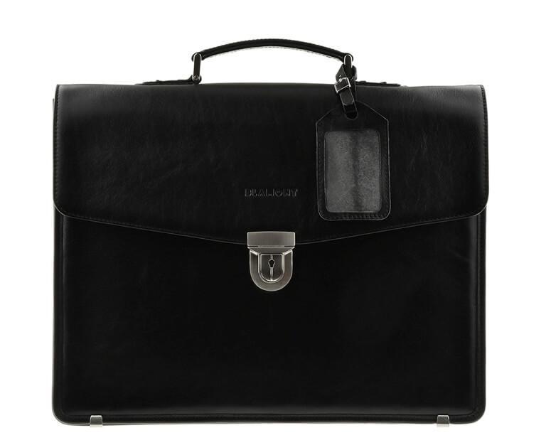 Мужской кожаный портфель черный классика с отделом для ноутбука Blamont Bn036A