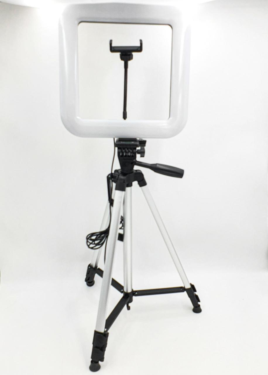 Набір блогера 2в1 квадратна LED лампа 28 см 34W з тримачем телефону і Штатив 135см селфи кільце регулювання яскравості і температури світіння D35