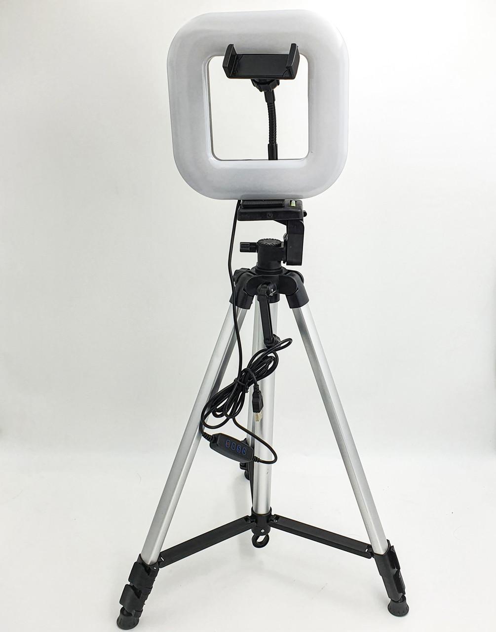 Набір блогера 2в1 квадратна LED лампа 18 см 12W з тримачем телефону і Штатив 135см селфи кільце регулювання яскравості і температури світіння D21