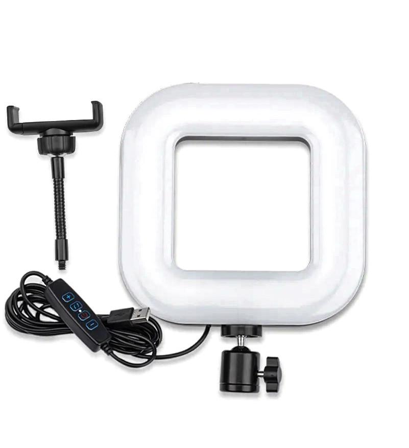 Квадратная LED лампа 18 см 12W с держателем для телефона селфи кольцо блогера регулировка яркости и