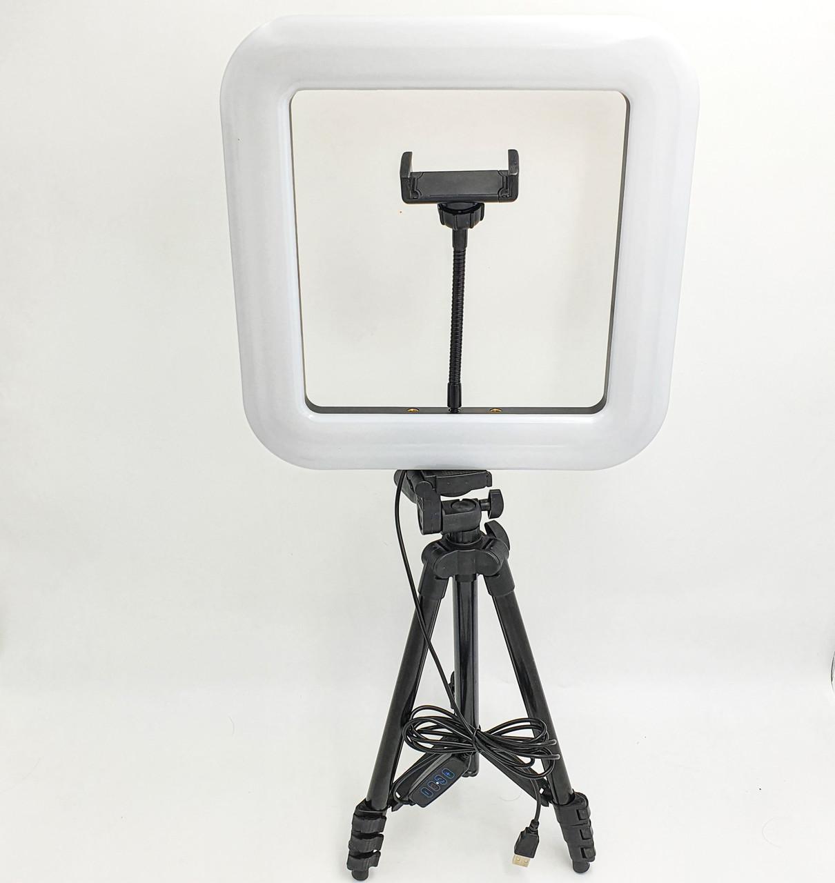 Набор блогера 2в1 квадратная LED лампа 28 см 34W с держателем телефона и штатив 102 см селфи кольцо