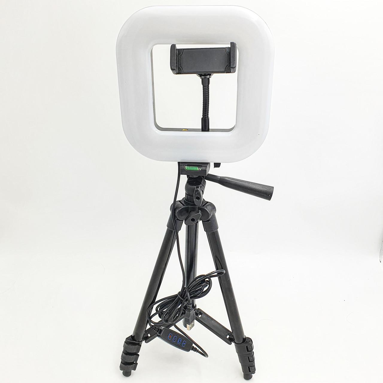 Набір блогера 2в1 квадратна LED лампа 18 см 12W з тримачем телефону і штатив 102 см селфи кільце регулювання яскравості і температури світіння D21