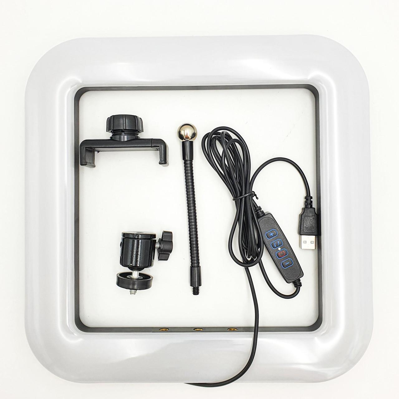 Квадратна LED лампа 28 см 34W з тримачем для телефону селфи кільце блогера регулювання яскравості і температури світіння D35