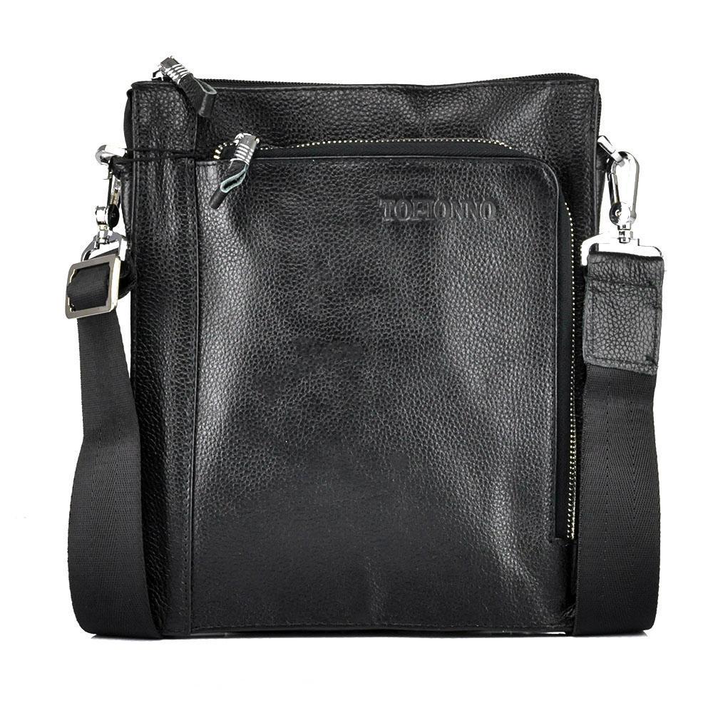 Мессенджер мужской кожаный через плечо три отделаTofionno W018-4 BLACK