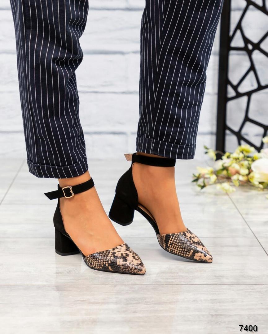 Туфли  открытые черный/рептилия