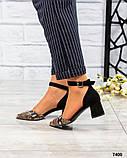 Туфли  открытые черный/рептилия, фото 4