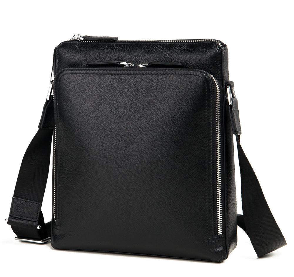 Деловая классическая мужская сумка через плечо черная кожа Tiding Bag M664-1A