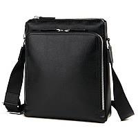 Деловая классическая мужская сумка через плечо черная кожа Tiding Bag M664-1A, фото 1