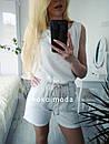 Амбер летний женский льняной костюм с шортами М-ка белый, фото 3