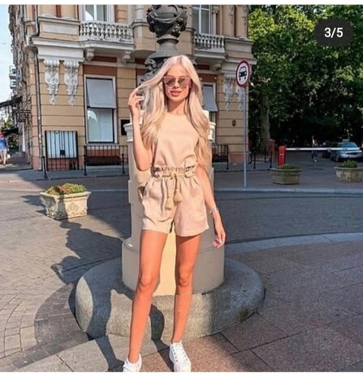 Амбер летний женский льняной костюм с шортами С-ка бежевый