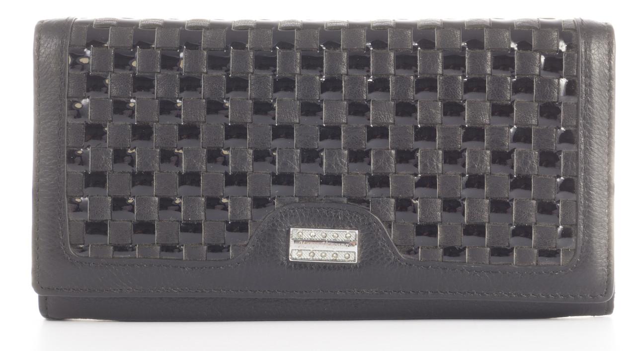 Оригинальный плетеный кожаный качественный стильный женский кошелек MARIO VERONNI art. MV-153-663A черный