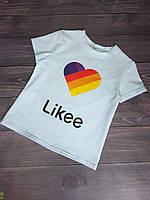 """Футболка дитяча """"Likee"""" для дівчаток. Розміри 128-152 .Білий. Оптом"""