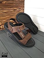 Кожаные мужские сандалии-шлёпки 2 в 1  Код С-1 коричневые